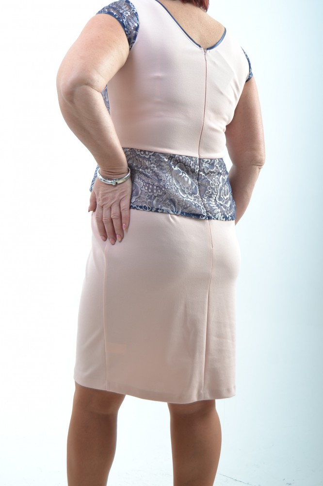 72adb05524c4 Dámske šaty staroružové s modrou krajkou D3 (úzky strih) - Ležérne ...
