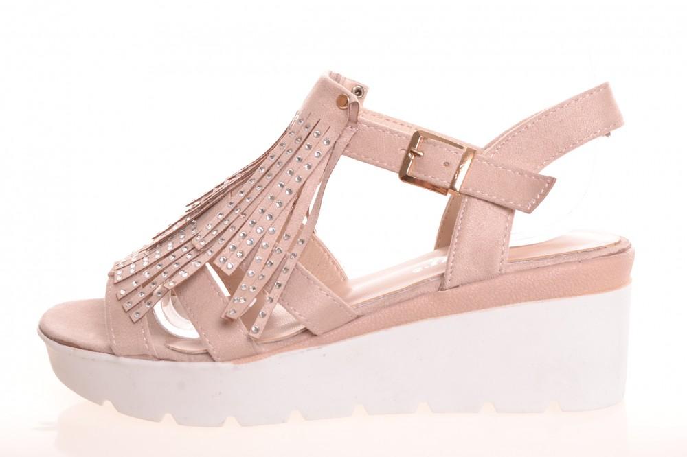 b2580cf87c3f Dámske semišové sandále s kamienkami a so strapcami - béžové (NC37) (v. 6  cm)