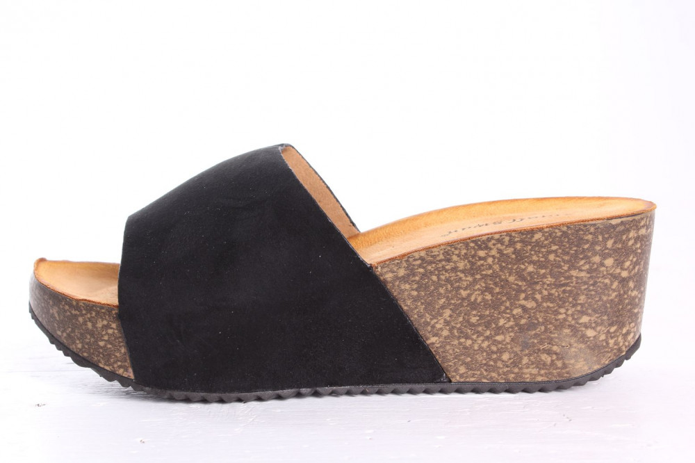 Dámske šľapky na platforme SMALL SWAN (YQ18) - čierne (v. 6 cm)