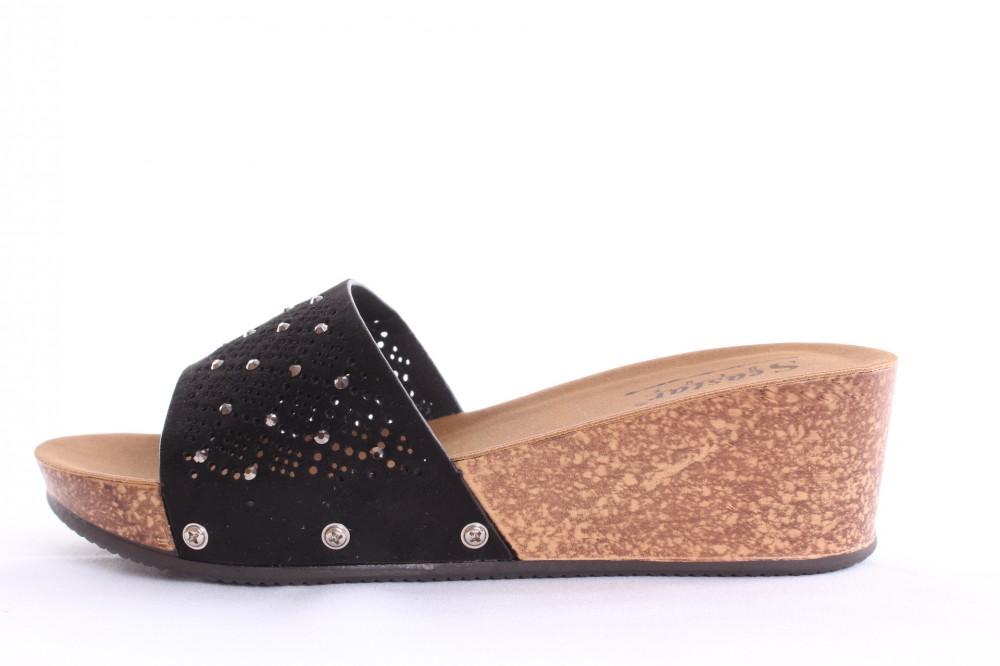 Dámske šľapky s kamienkami (G-160) - čierne (v. 5 cm) - Elegantné ... 7cb339d302