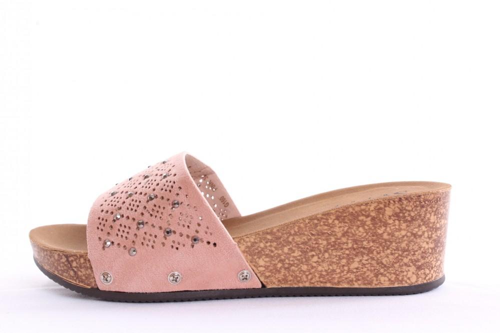 aa8d2fe22c Dámske šľapky s kamienkami (G-160) - ružové (v. 5 cm) - Elegantné ...