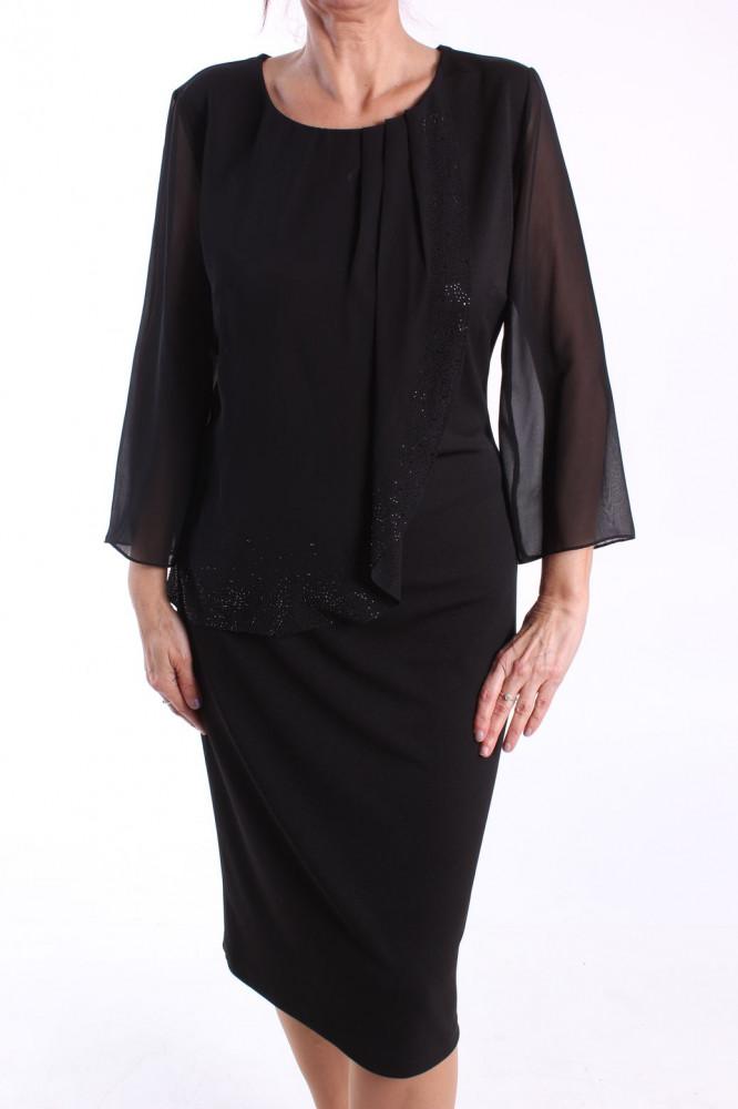 Dámske spoločenské elastické šaty (č. 37152) - čierne D3