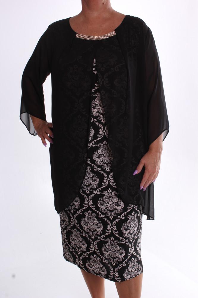 Dámske spoločenské elastické šaty so silonom a štrasom - čierno-biele