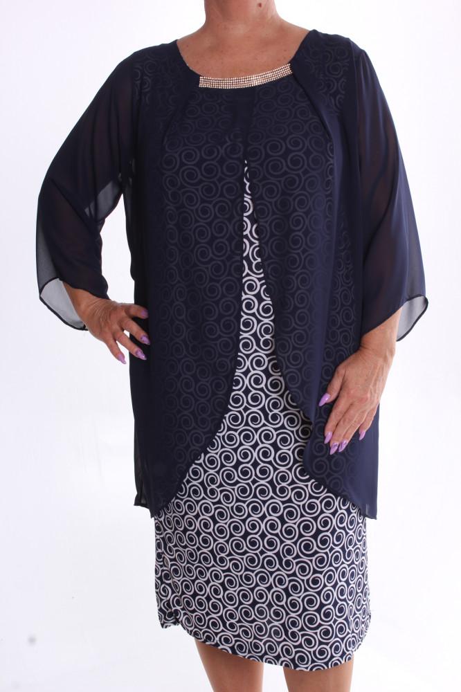 Dámske spoločenské elastické šaty so silonom a štrasom - tmavomodro-biele