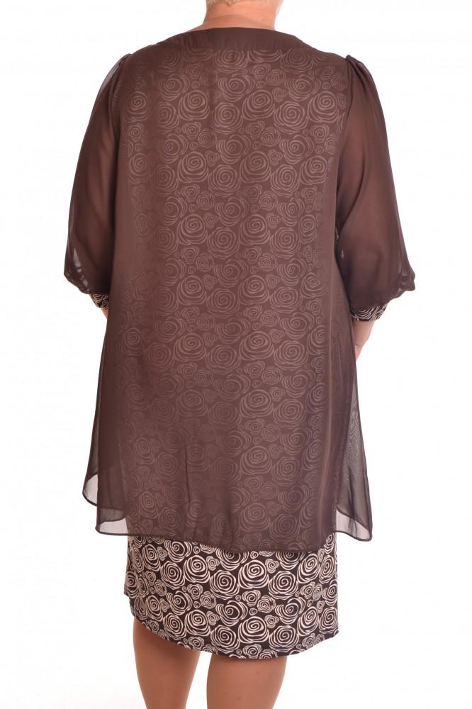 fc6cf9a07aad Dámske spoločenské elastické šaty so silonom a štrasovým lemom - hnedé  1