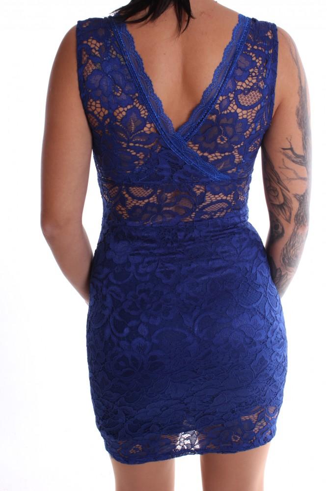 Dámske spoločenské šaty čipkované bez rukávov - kráľovské modré D3 ... c2953910639