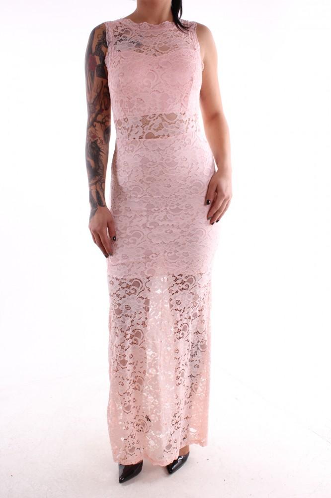 Dámske spoločenské šaty čipkované dlhé - bledoružové D3 ... e057ea9f3ce