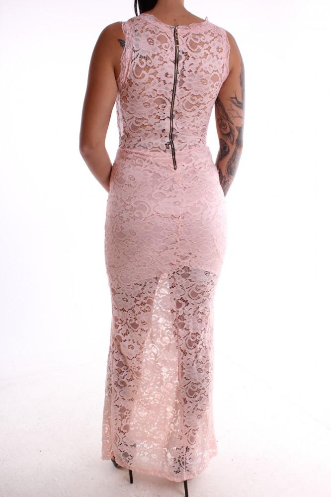 Dámske spoločenské šaty čipkované dlhé - bledoružové D3 ... 9a8e08c92b8