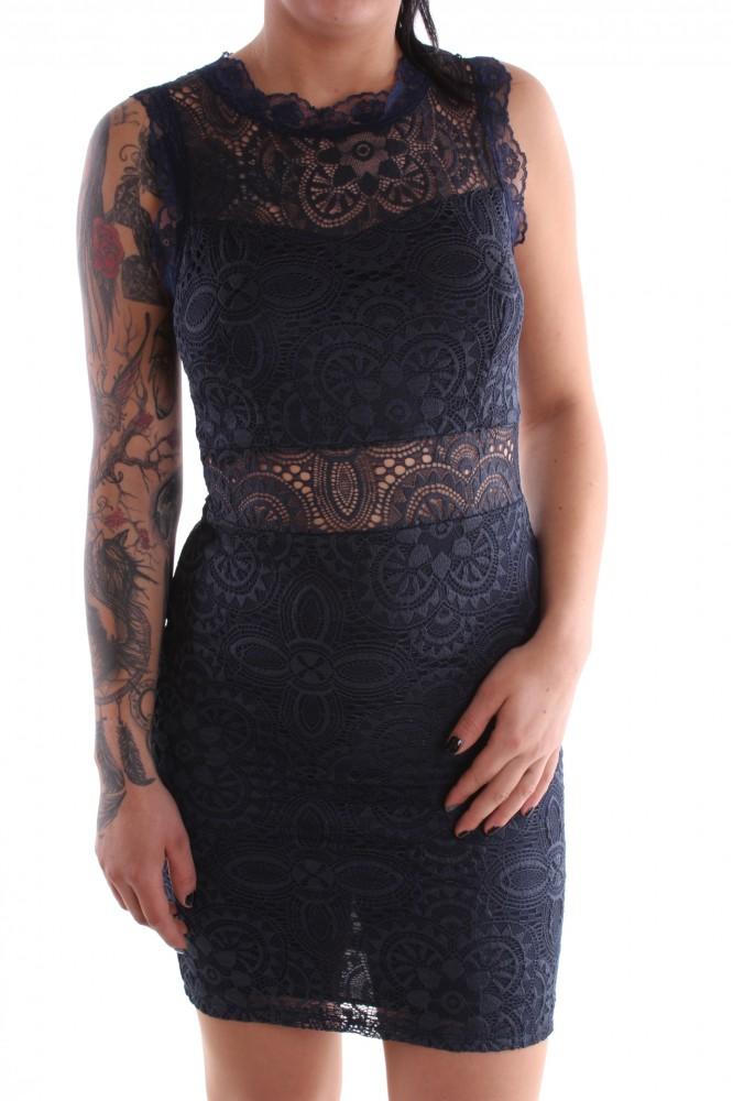 20f8021dbfbb Dámske spoločenské šaty čipkované so zipsom bez rukávov - tmavomodré ...