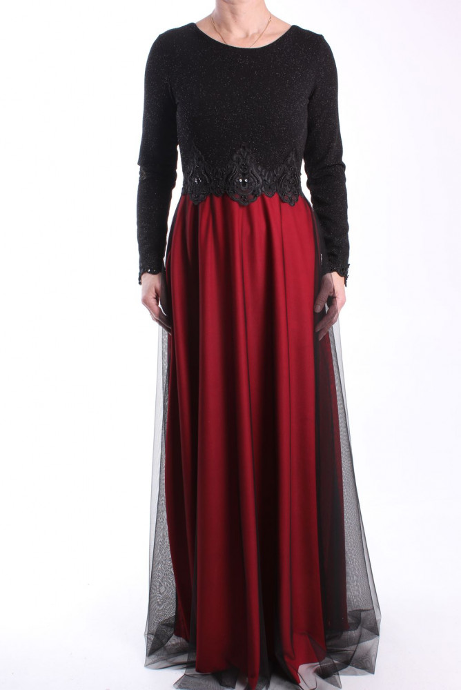 Dámske spoločenské šaty dlhé (č. 38066) - červeno-čierne D3 ... 205e1ee841a