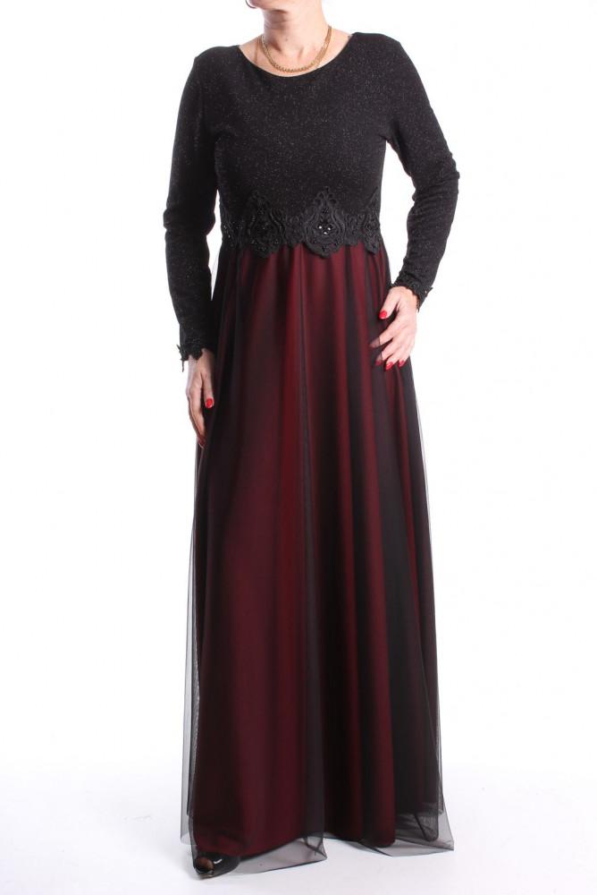 Dámske spoločenské šaty dlhé (č. 38073) - bordovo-čierne D3