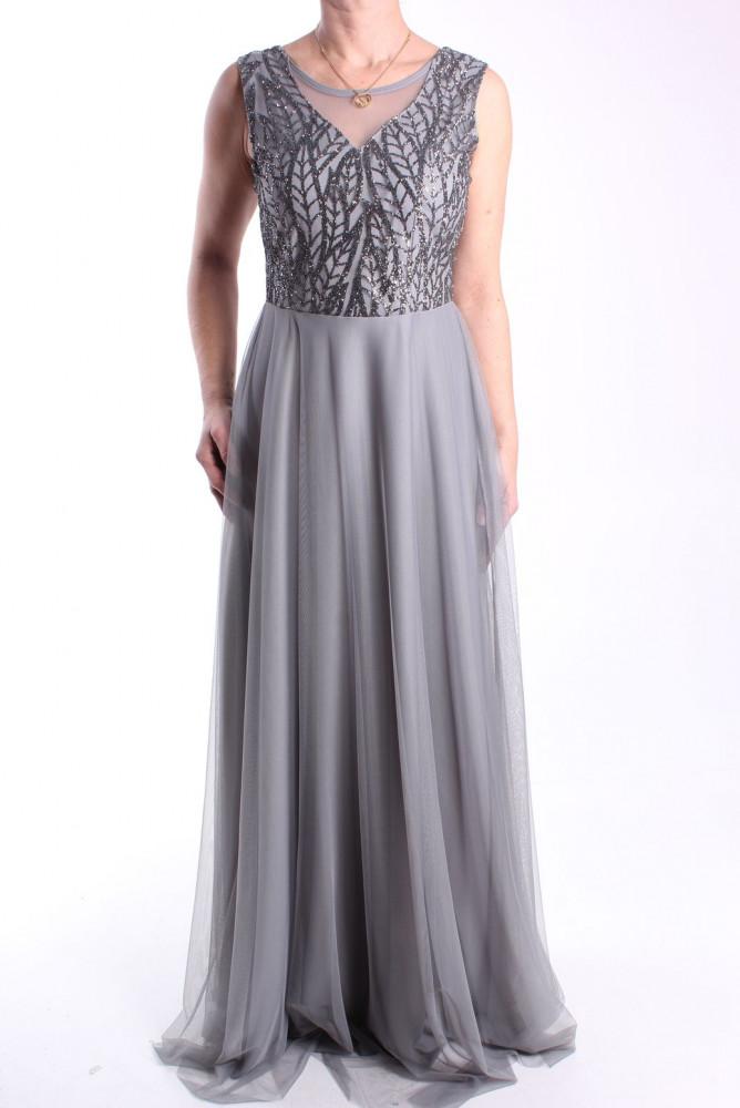 Dámske spoločenské šaty dlhé (č. 38404) - sivé D3 - Spoločenské šaty ... 72ca15f27a7