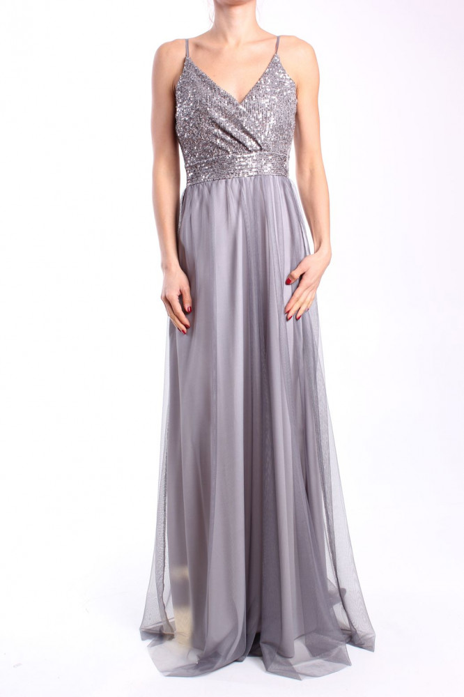 Dámske spoločenské šaty dlhé (č. 38406) - strieborno-sivé D3 ... ff9e66d8a51