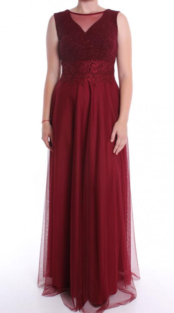 87e21cf22800 Dámske spoločenské šaty dlhé s krajkou - bordové D3 - Spoločenské ...
