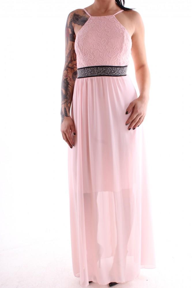 Dámske spoločenské šaty kombinované s čipkou - bledoružové D3 ... d3c4dd7a879