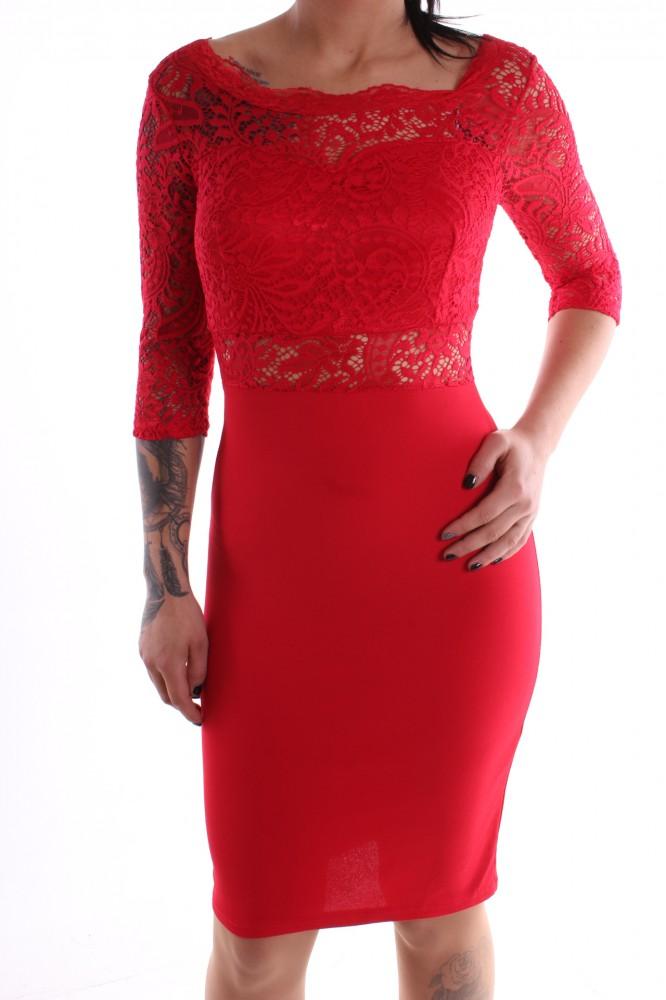 Dámske spoločenské šaty kombinované s čipkou - červené D3 ... 2d2f74d5ccd