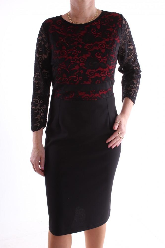 3b57bdebf162 Dámske spoločenské šaty kombinované s čipkou - červeno-čierne D3 ...
