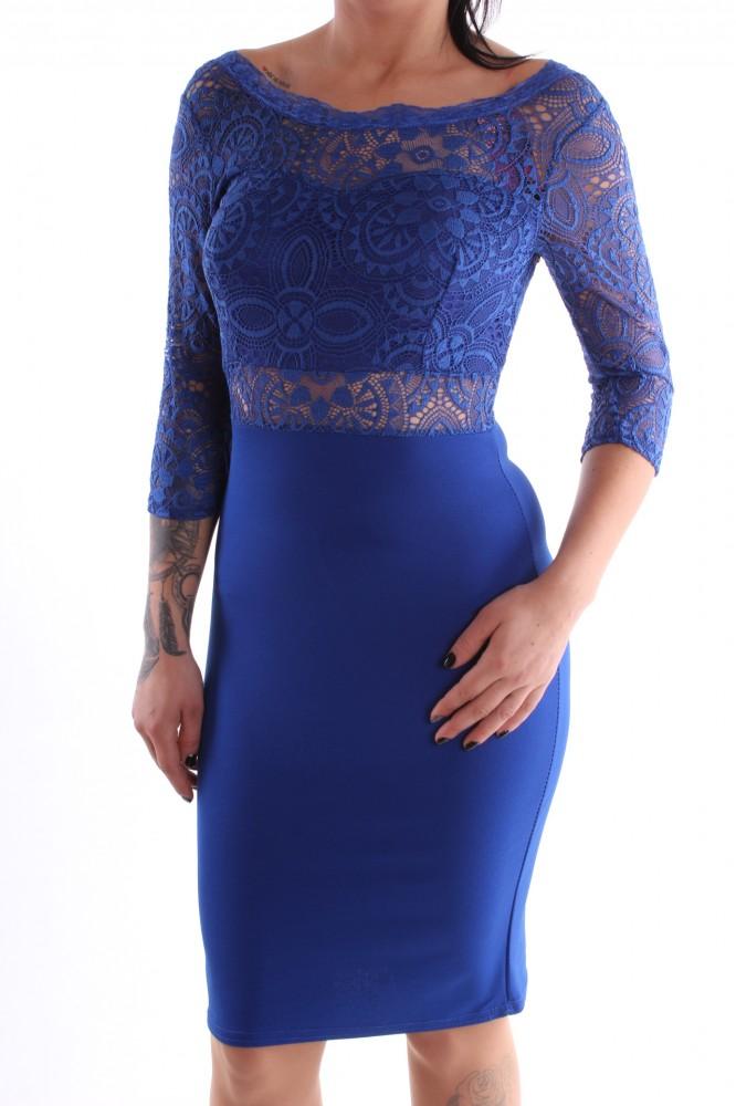 332b87d4d2ea Dámske spoločenské šaty kombinované s čipkou - parížske modré D3 ...