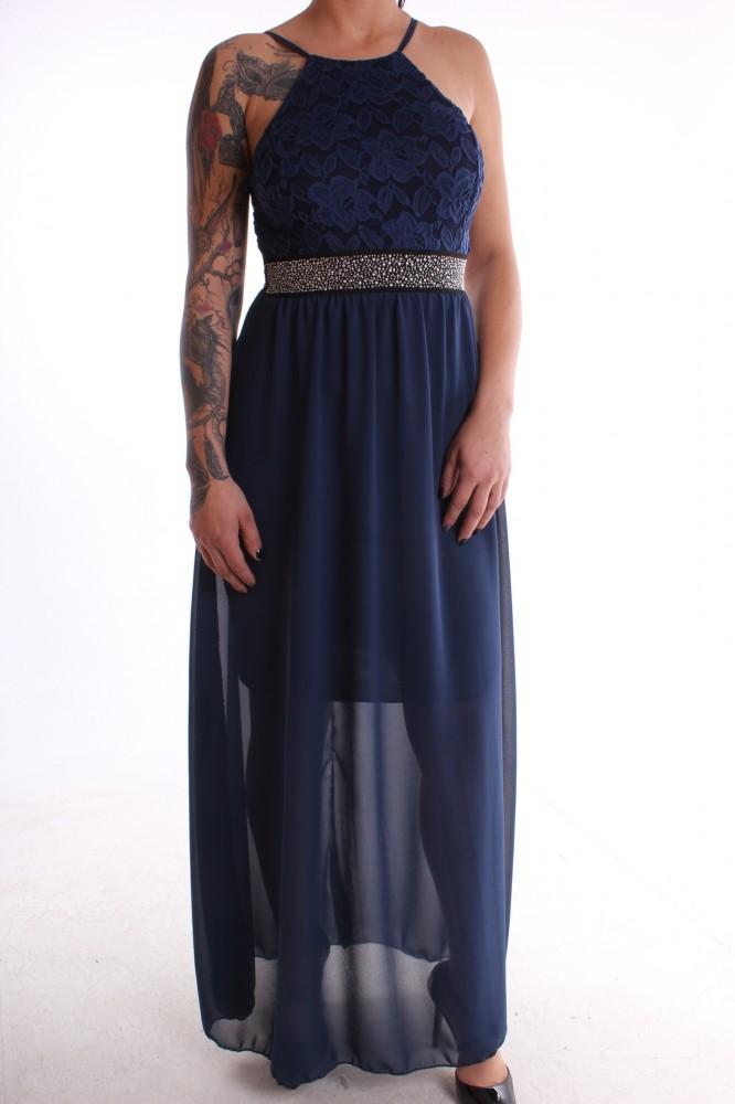 da8c470b1471 Dámske spoločenské šaty kombinované s čipkou - tmavomodré D3 ...