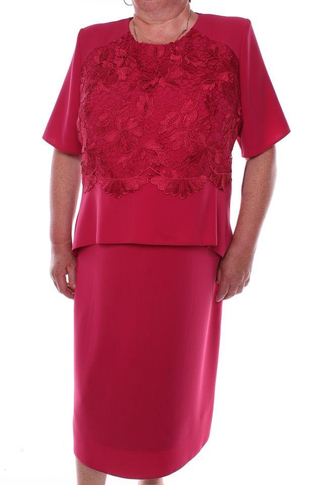 Dámske spoločenské šaty kombinované s krajkou - bordové