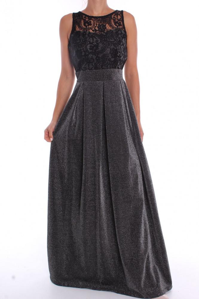 Dámske spoločenské šaty lurexové dlhé - čierne D3 - Spoločenské ... 1123ec755c2