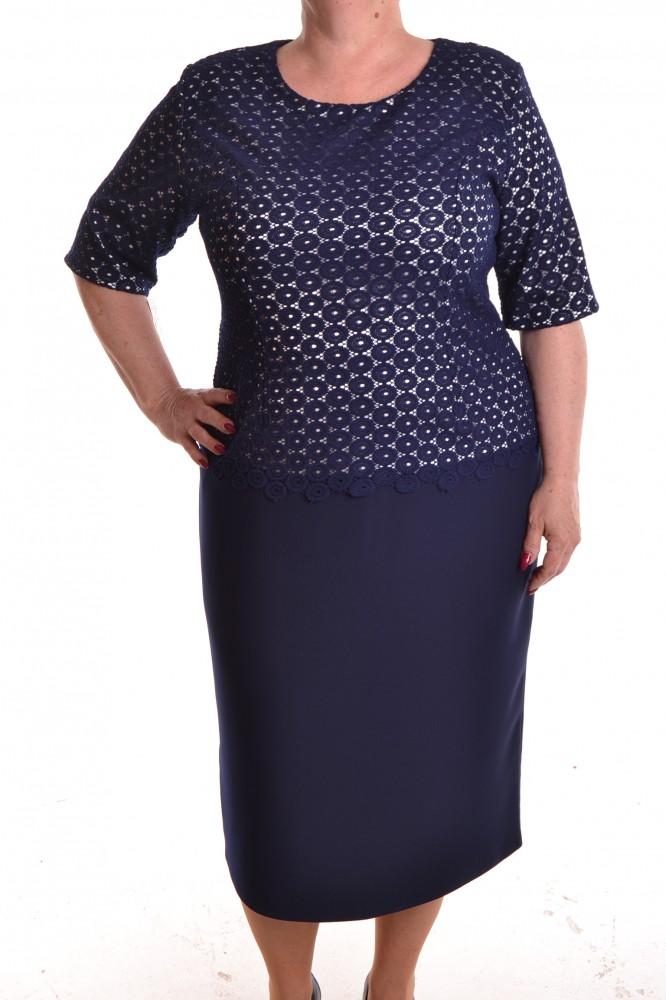 250580d141db Dámske spoločenské šaty s dlhou háčkovanou krajkou - tmavomodré D3 ...