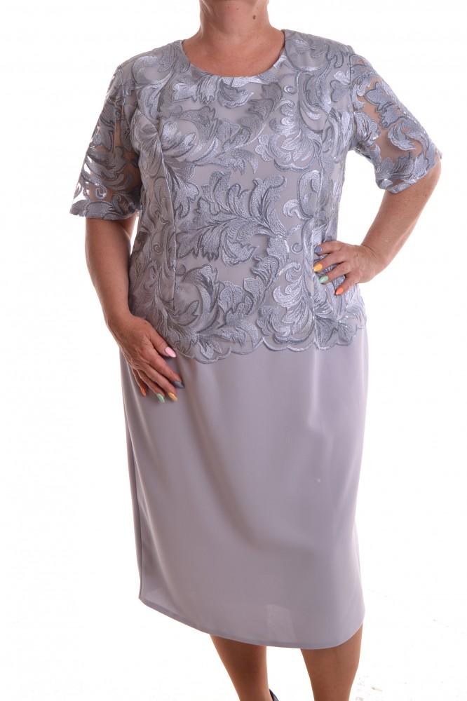 7d8b16fac608 Dámske spoločenské šaty s dlhou vyšívanou krajkou - sivé D3 ...