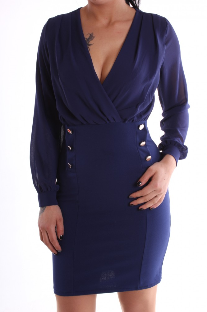 ee8ff55d7b50 Dámske spoločenské šaty s gombíkmi - tmavomodré D3 - Spoločenské ...