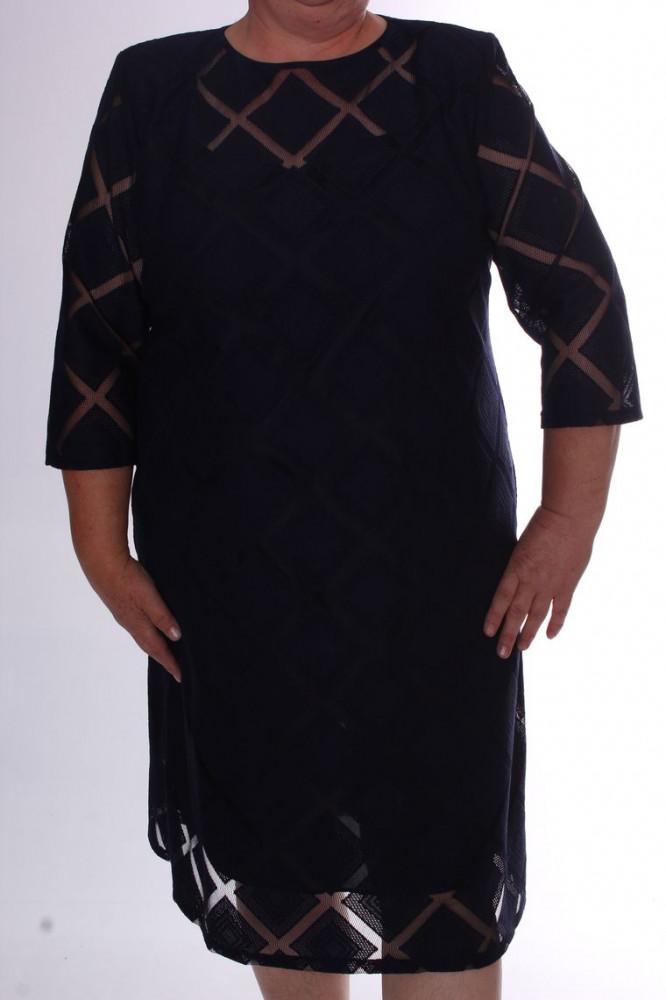 Dámske spoločenské šaty s kockami - tmavomodré D3