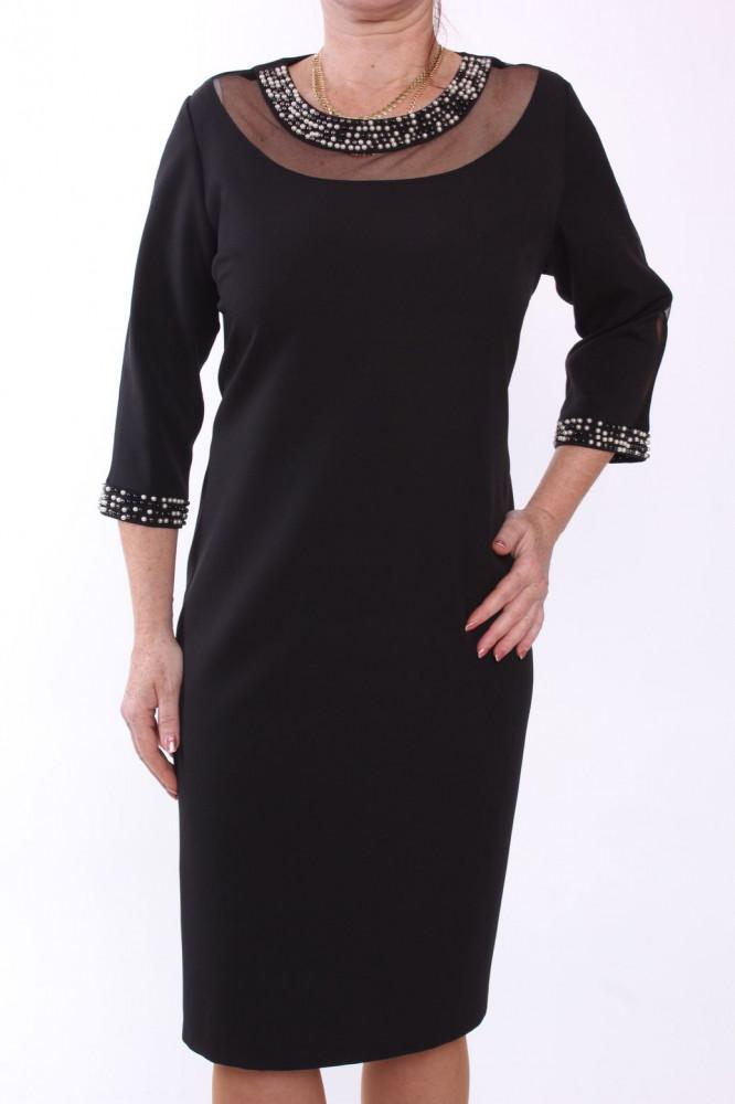 Dámske spoločenské šaty s korálkami - čierne D3