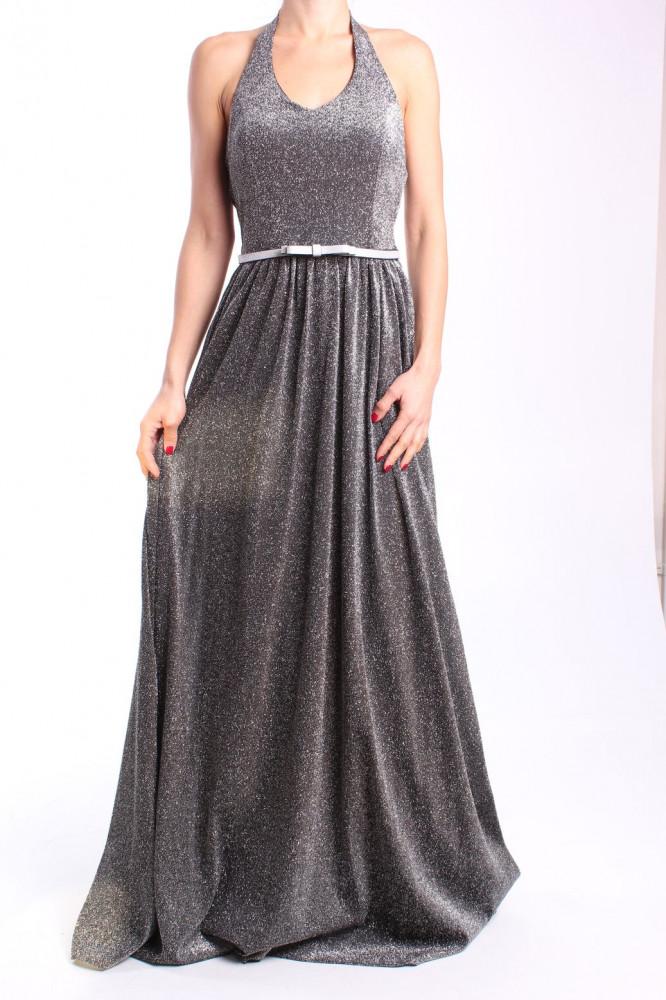 0b8708e6a622 Dámske spoločenské šaty s opaskom dlhé (č. 37183) - strieborno-čierne D3