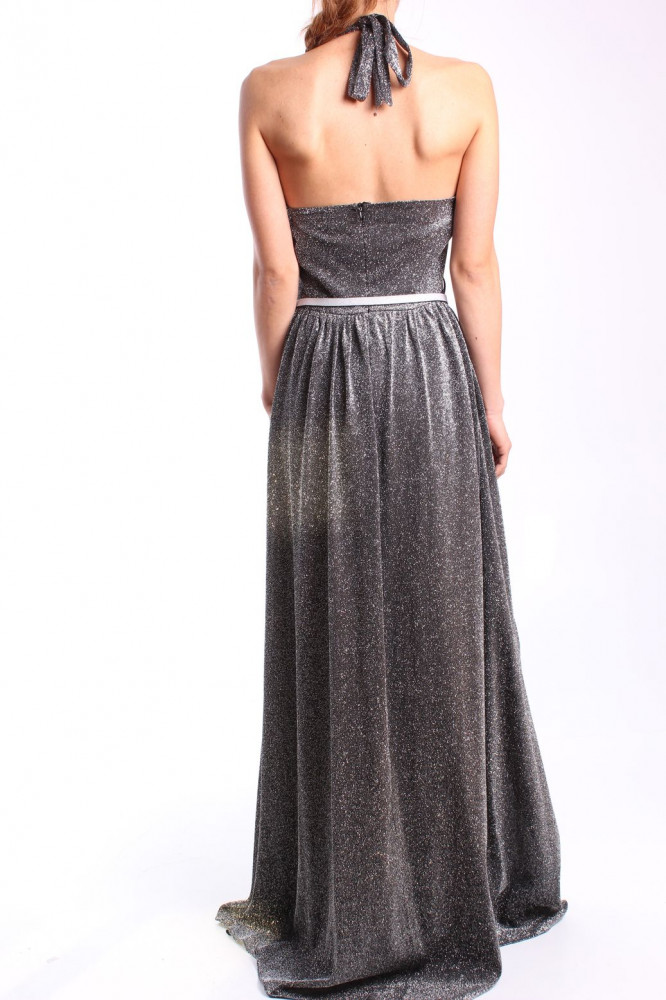 Dámske spoločenské šaty s opaskom dlhé (č. 37183) - strieborno-čierne D3 67f90555080