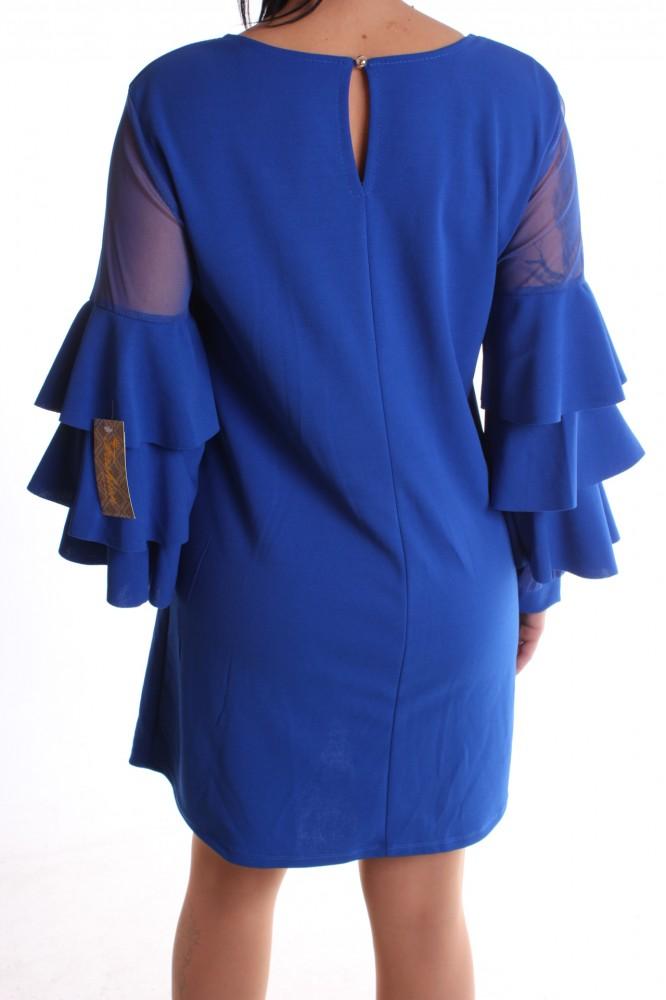 b5d60f1e536e Dámske spoločenské šaty so silonovým rukávom a volánikmi - parížske modré  D3  1