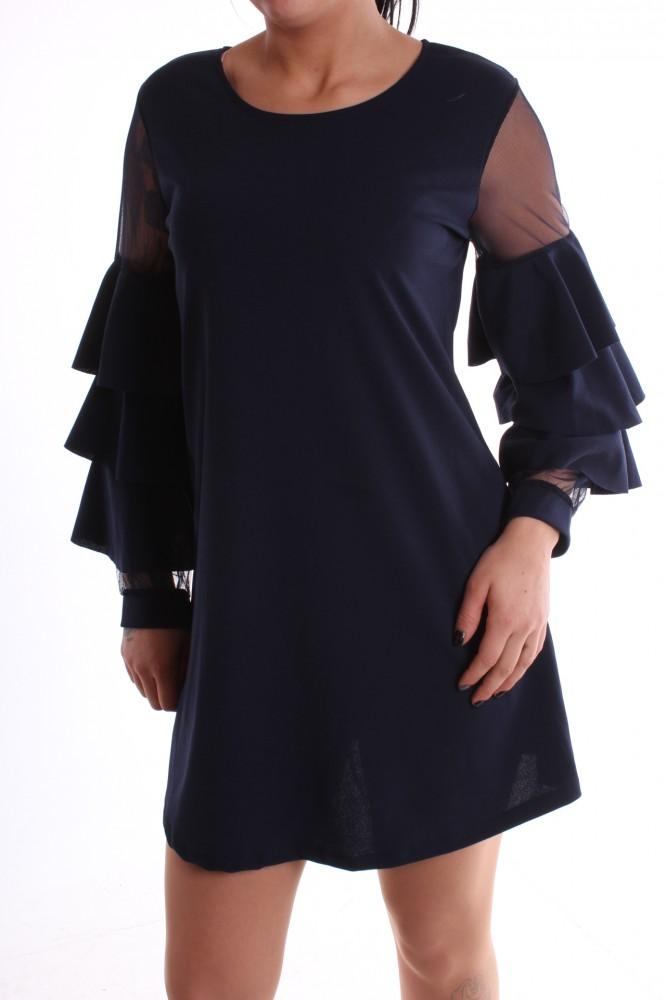 0054957f72dd Dámske spoločenské šaty so silonovým rukávom a volánikmi - tmavomodré D3