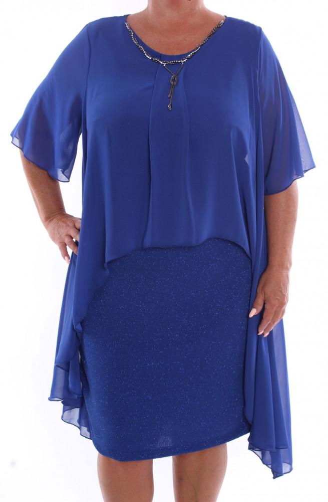 97d0ea432d8c Dámske spoločenské šaty so silonovým vrchom a retiazkou (39055) - kráľovské  modré D3