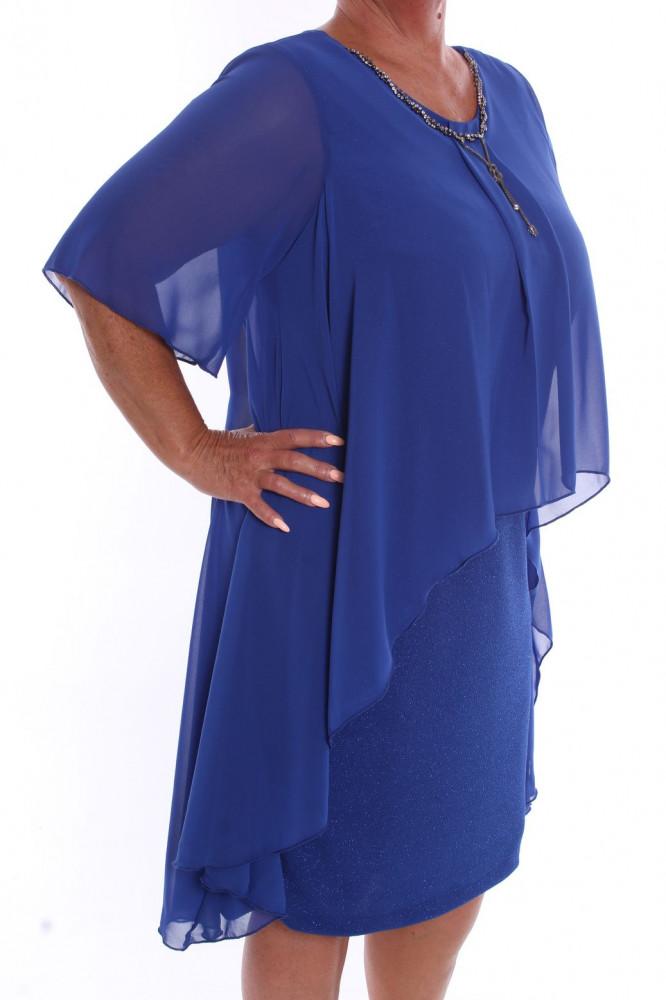 88cfddb9d929 Dámske spoločenské šaty so silonovým vrchom a retiazkou (39055) - kráľovské  modré D3