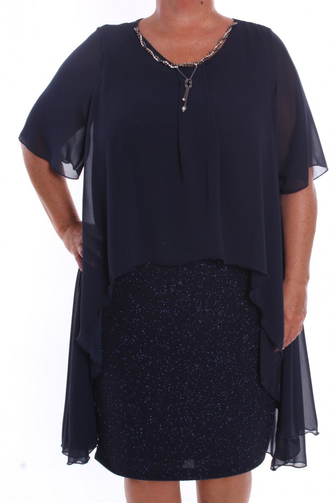 c2aacba0ce3c Dámske spoločenské šaty so silonovým vrchom a retiazkou (39055) -  tmavomodré D3