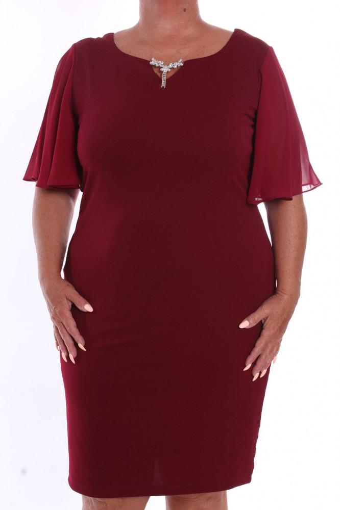 a0bbc33c41e Dámske spoločenské šaty so štrasovou sponou (38234) - bordové D3 ...