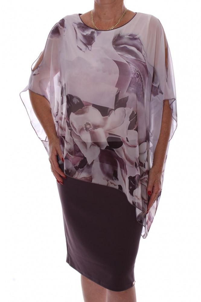 Dámske spoločesnké elastické šaty so silonovým vrchom - fialovo-biele D3