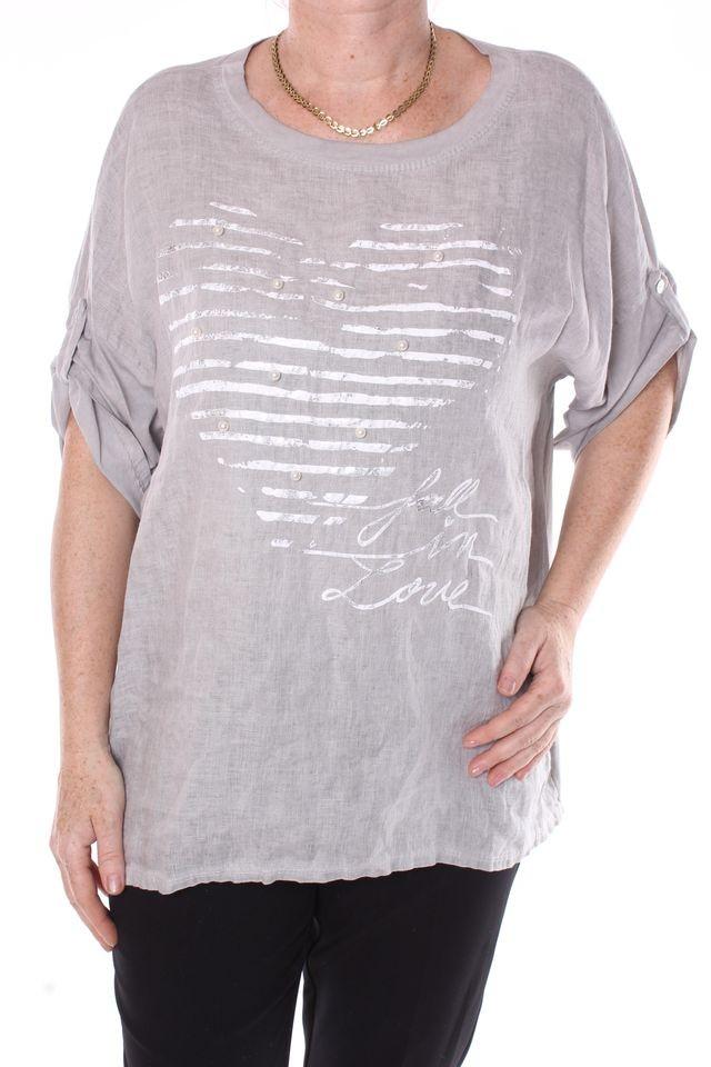 Dámske tričko s korálkami - bledosivé D3 - Dámske tričká - Locca.sk 1ce5933c213