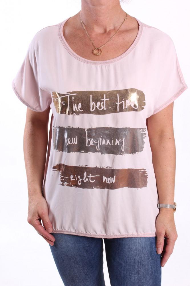 Dámske tričko s lesklými vzormi - bledoružové