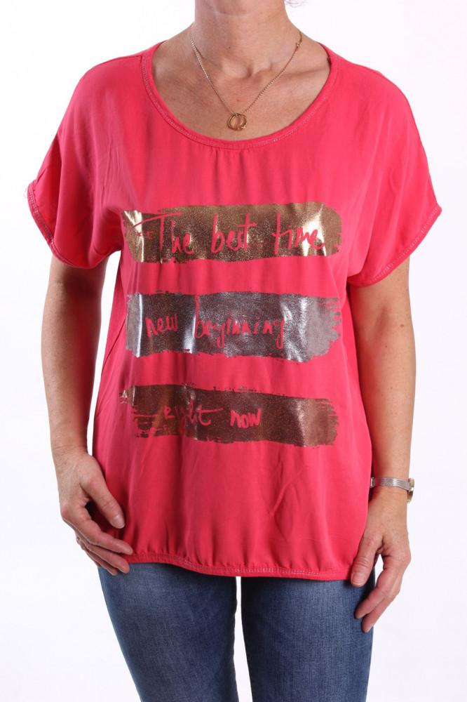 Dámske tričko s lesklými vzormi - ružové