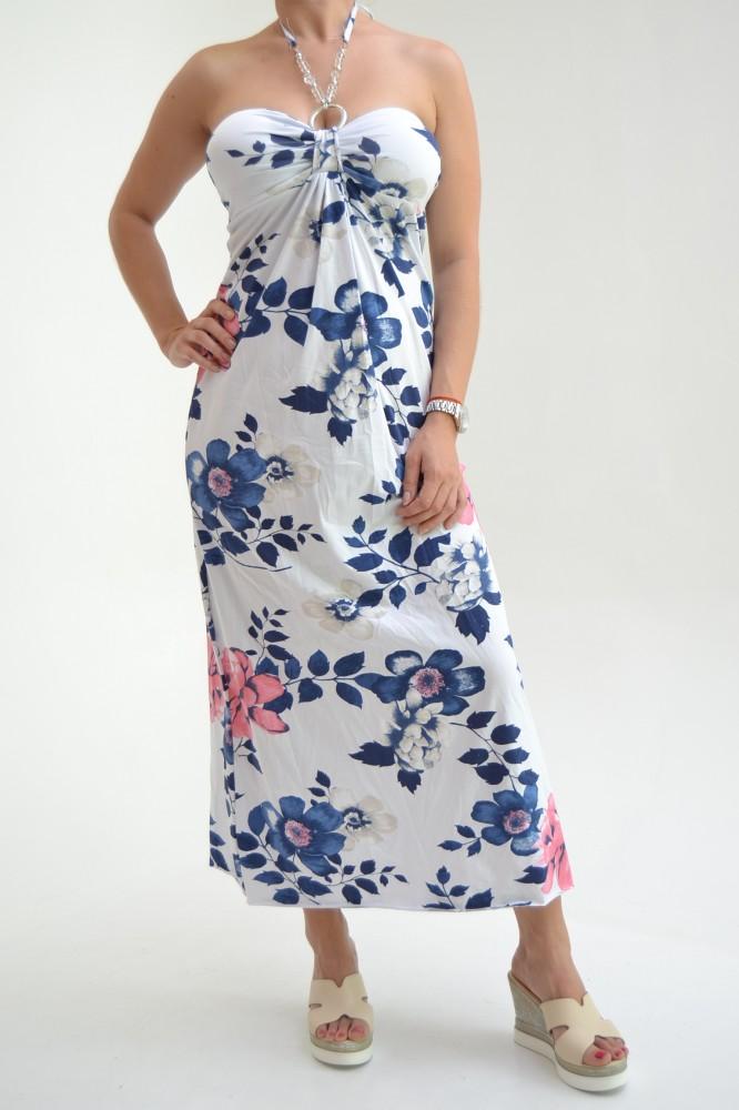 Dámske úpletové šaty kvietkované s gorálkami - modro-červený vzor D3 ... 6eb14efed4c