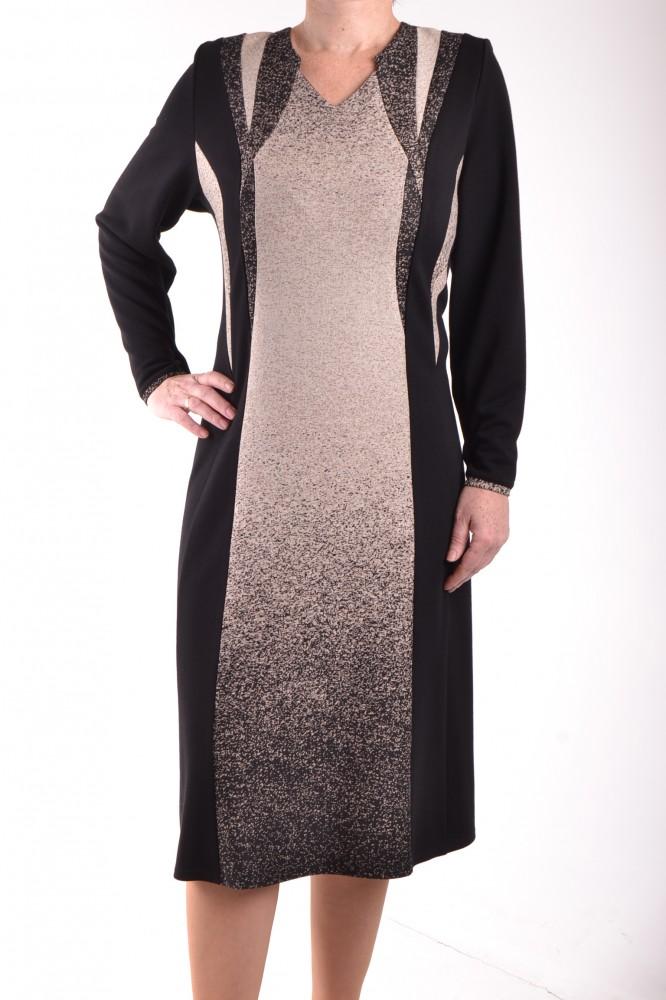 59cb61c662a6 Dámske úpletové šaty s béžovo-hnedou kombináciou - čierne D3 ...