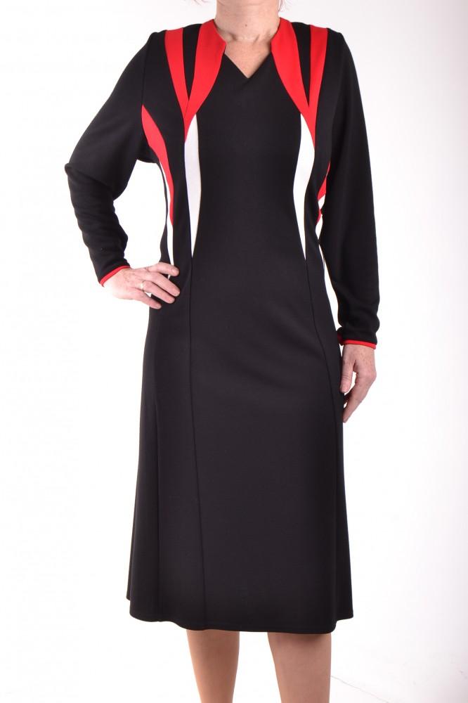 1b4d7e1c94 Dámske úpletové šaty s červeno-maslovou kombináciou - čierne D3 ...
