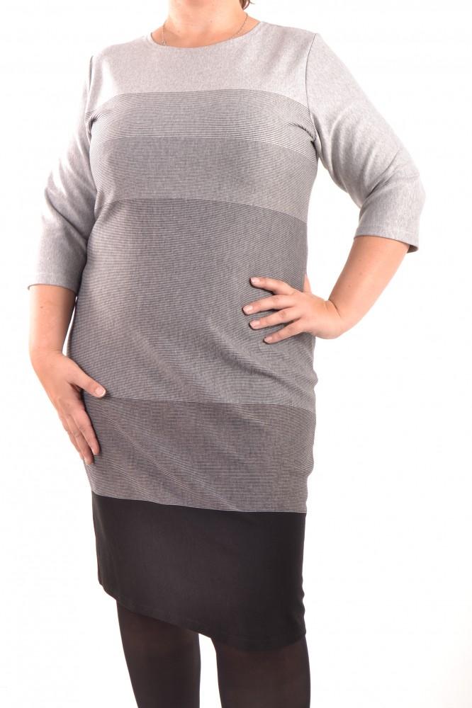 8bae11e3ac Dámske úpletové šaty - sivo-čierne D3 - Ležérne šaty pre moletky ...