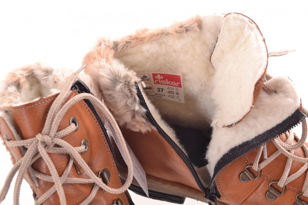 12aaa6b2527160 Dámske zatepletné kožené čižmy RIEKER (Z6743-24) - hnedé - Dámske ...