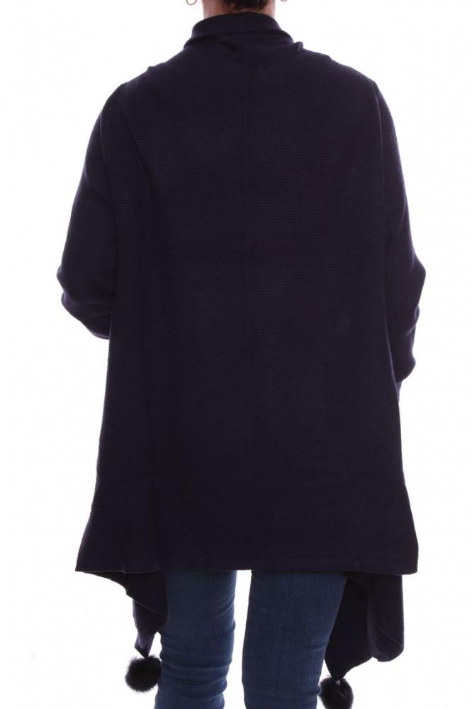 b917361c44f3 Dámsky elastický sveter s brmbolcami (A3329) - tmavomodrý D3 ...