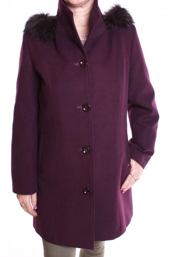 519ccc454e94 Dámsky flaušový kabát s kapucňou - baklažánový - Dámske flaušové ...