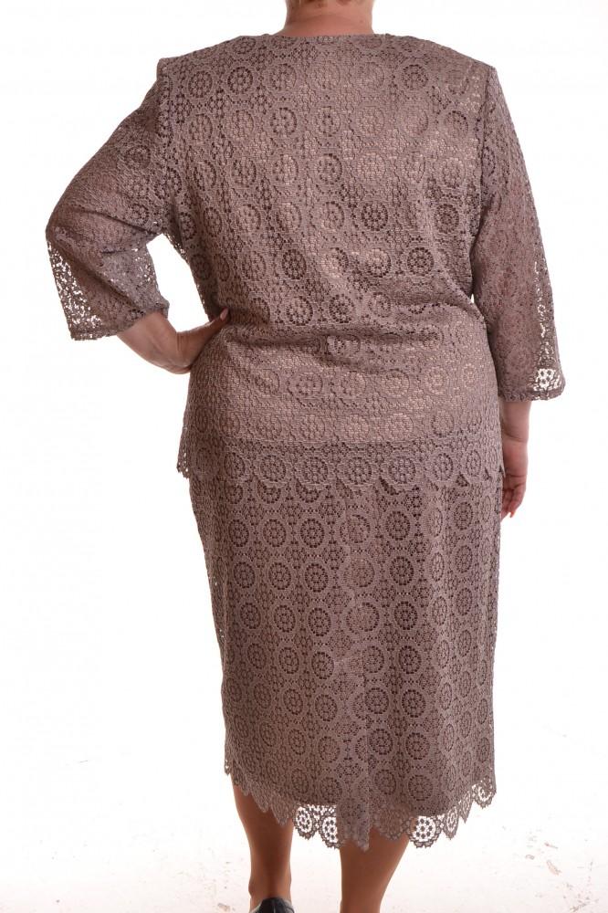 Dámsky letný spoločenský 3. dielny kostým krajkový - hnedý D3 ... c6ca9116b93